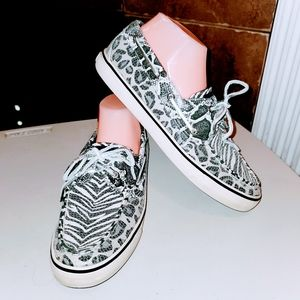 SPERRY Top-Sider Cheetah Zebra Sequin Boat Shoes